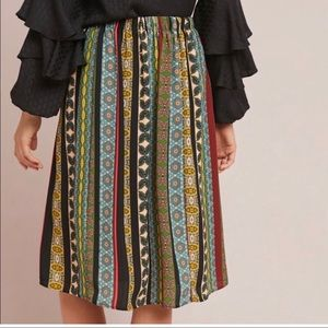 Anthropologie scarf print skirt